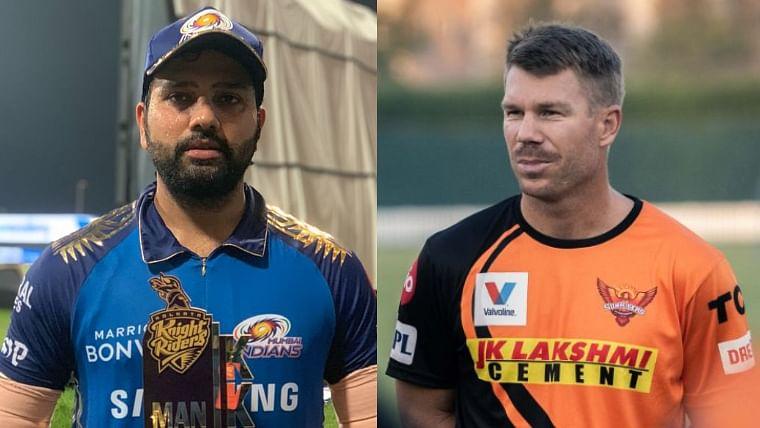 Rohit Sharma (L), David Warner (R)