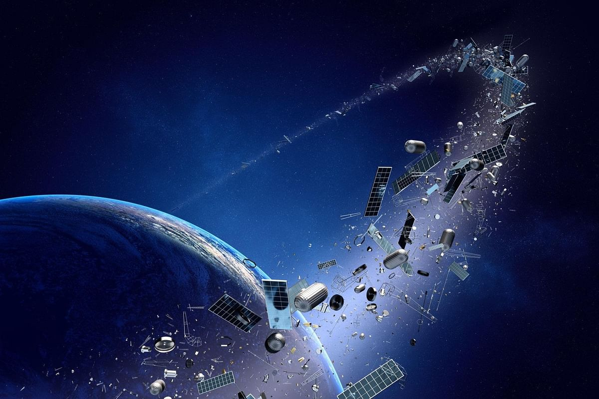 Two large pieces of space junk barely avoid collision