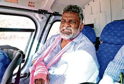 An injured Jan Adhikar Party president Pappu Yadav after his stage collapsed during the Phase II of the campaign in Muzaffarpur on Saturday.