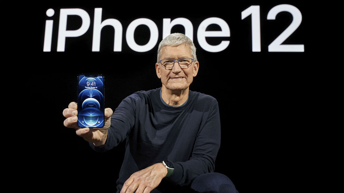 Apple CEO Tim Cook holds up the all-new iPhone 12 Pro during an Apple event at Apple Park in Cupertino, California on October 13, 2020