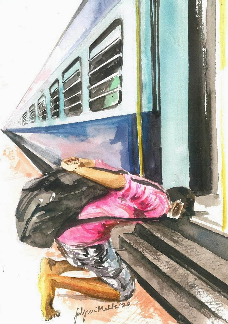 Falguni Mehta's touching artwork capturing migrant workers struggle to reach home