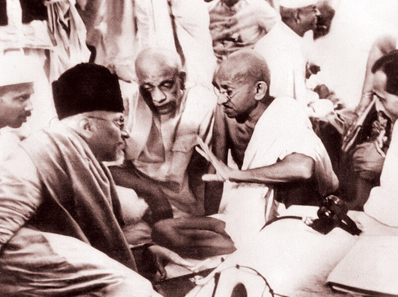In a discussion with Sardar Patel, Maulana Azad and JB Kriplani
