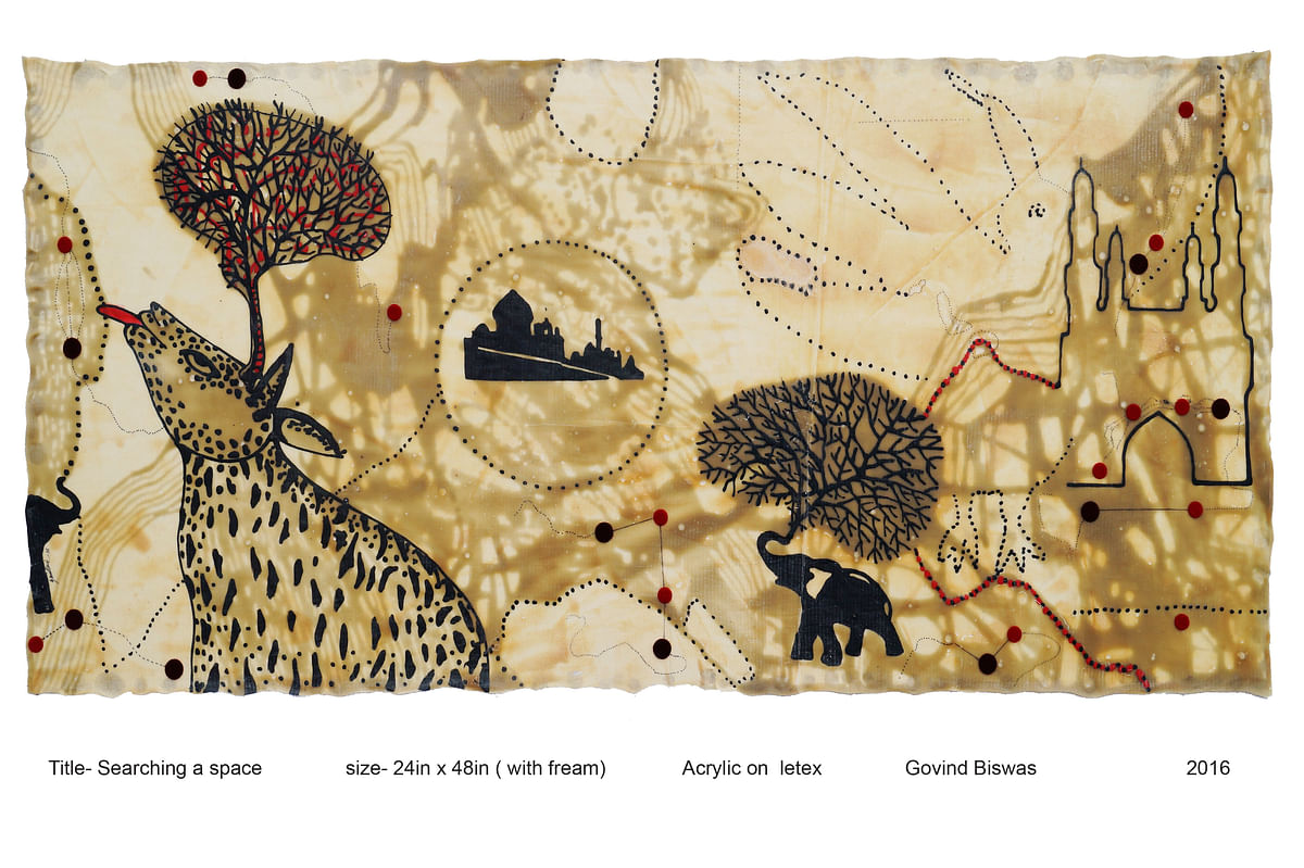Bhopal: City artist Govind Vishwas's works exhibited in International Online Solo Art Expo of Contemporary Artists