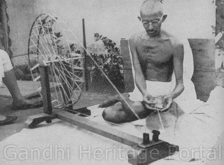Gandhi at the wheel in Sabarmati Ashram in 1925
