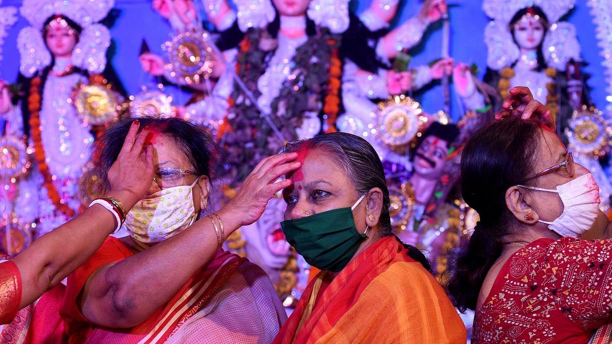 Mumbai: Bengali women participate in Sindoor Khela at Dadar's Shivaji Park Bengal Club; see pics