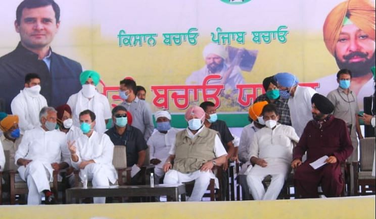 Navjot Singh Sidhu (extreme right) at a farmers rally in Punjab's Moga