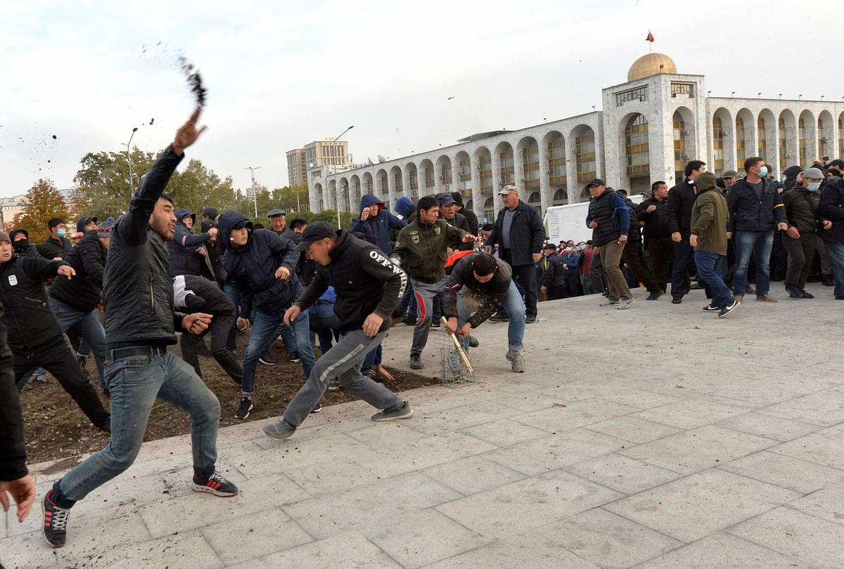 Protesters demonstrate in Kyrgyzstan.