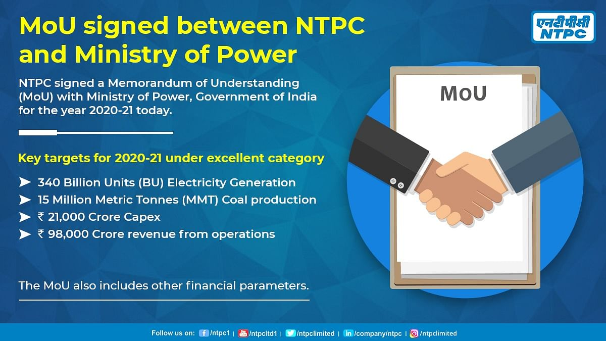 NTPC signs Memorandum of Understanding with govt; targets Rs 98,000 crore revenue from operations for FY21