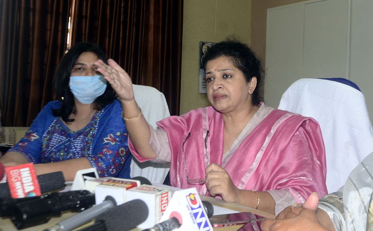 MP Commission for Women chairperson Shobha Oza addressing a press conference at Bhopal on Friday.