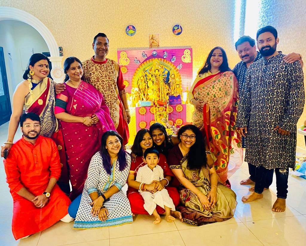 Theatre Artiste Swastika Chakraborty (third from the right) celebrating Durga Puja with her family members in Dubai