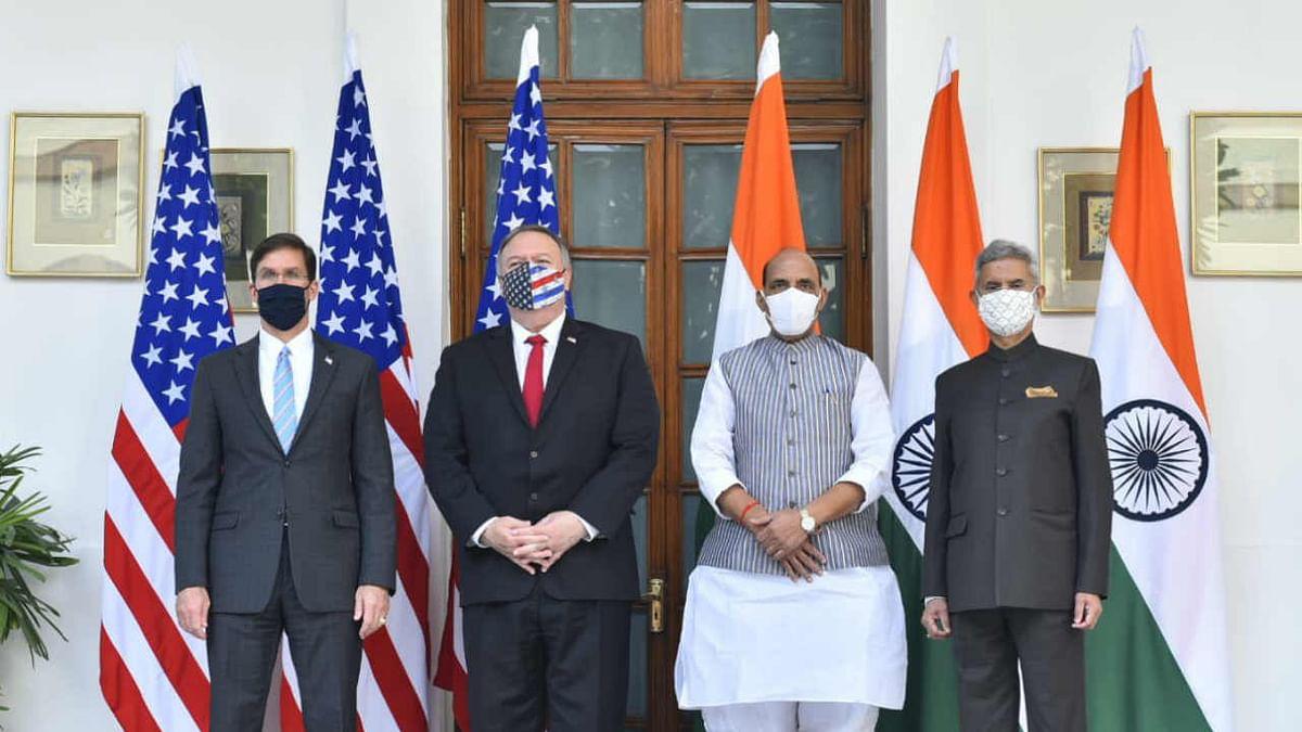 S Jaishankar & Rajnath Singh with their US counterparts Secretaries of State & Defense Mike Pompeo and Mark Esper