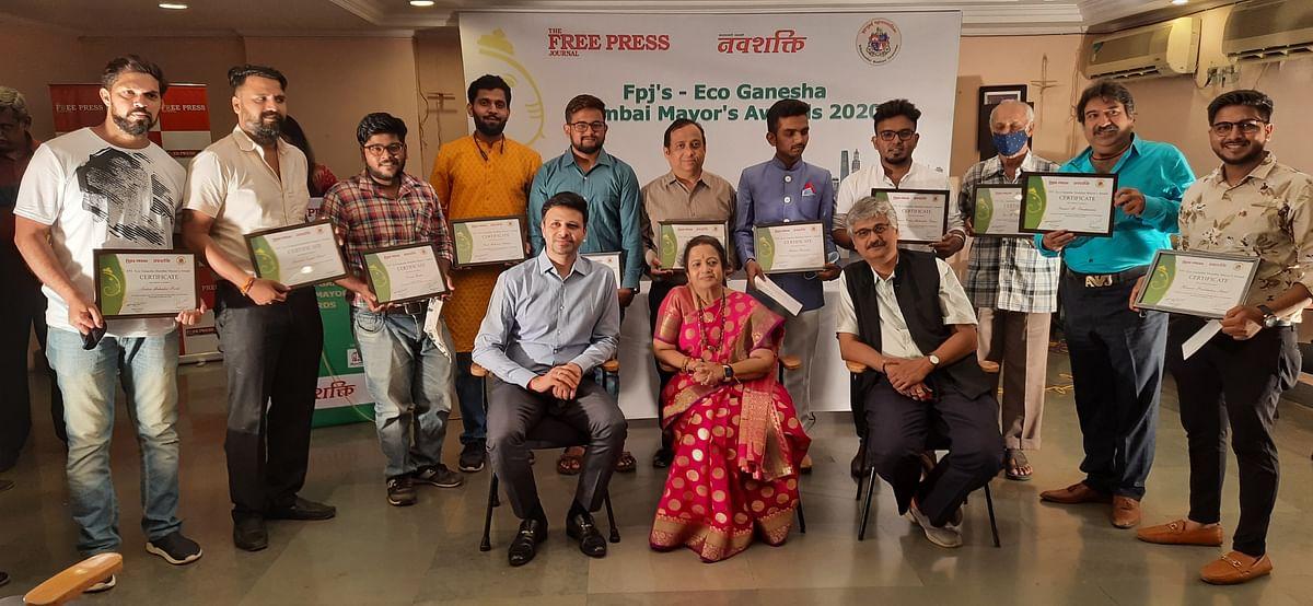 Mumbai Mayor felicitates winners  of Free Press Journal's Eco-Ganesha contest