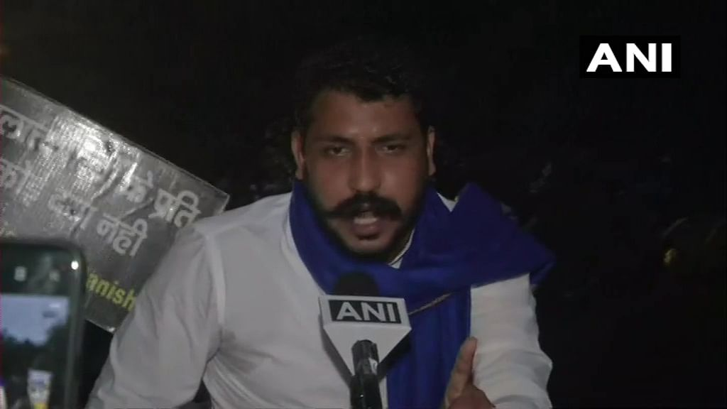 Delhi: Bhim Army Chief Chandrashekhar Azad takes part in a protest against Hathras incident, at Jantar Mantar.