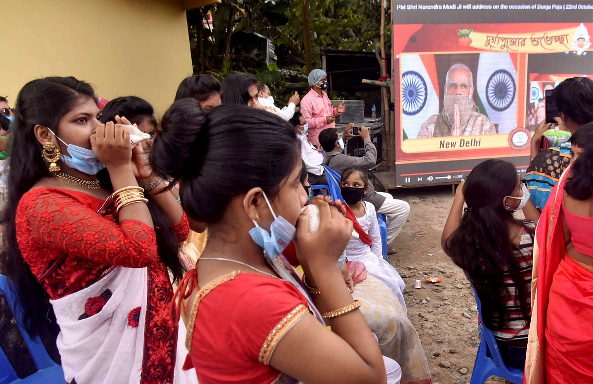 Modi invokes Durga for poll pitch in Bengal
