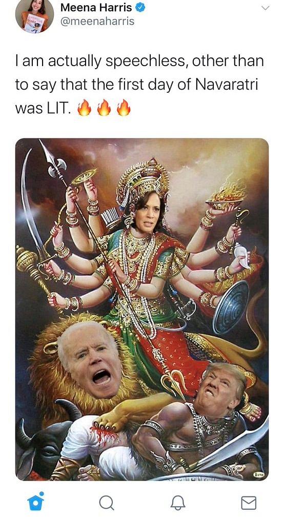 Navratri 2020: Meena Harris slammed for tweeting Ma Durga's face with Kamala