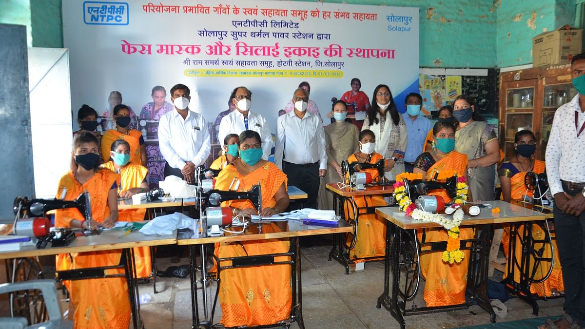 NTPC-Solapur supports self-help groups's face mask & sewing units