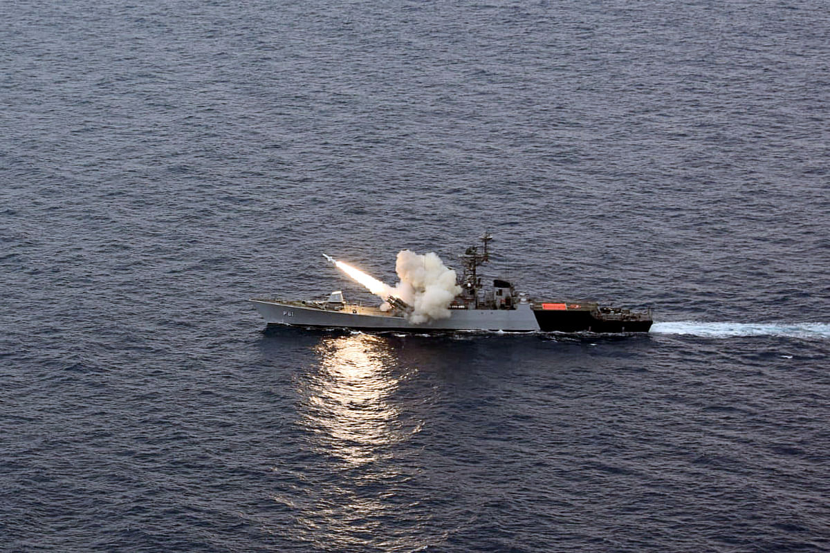 Navy fires missile as part of military drill in Bay of Bengal