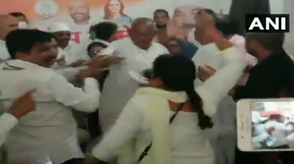 A woman was allegedly thrashed by Congress workers in Deoria