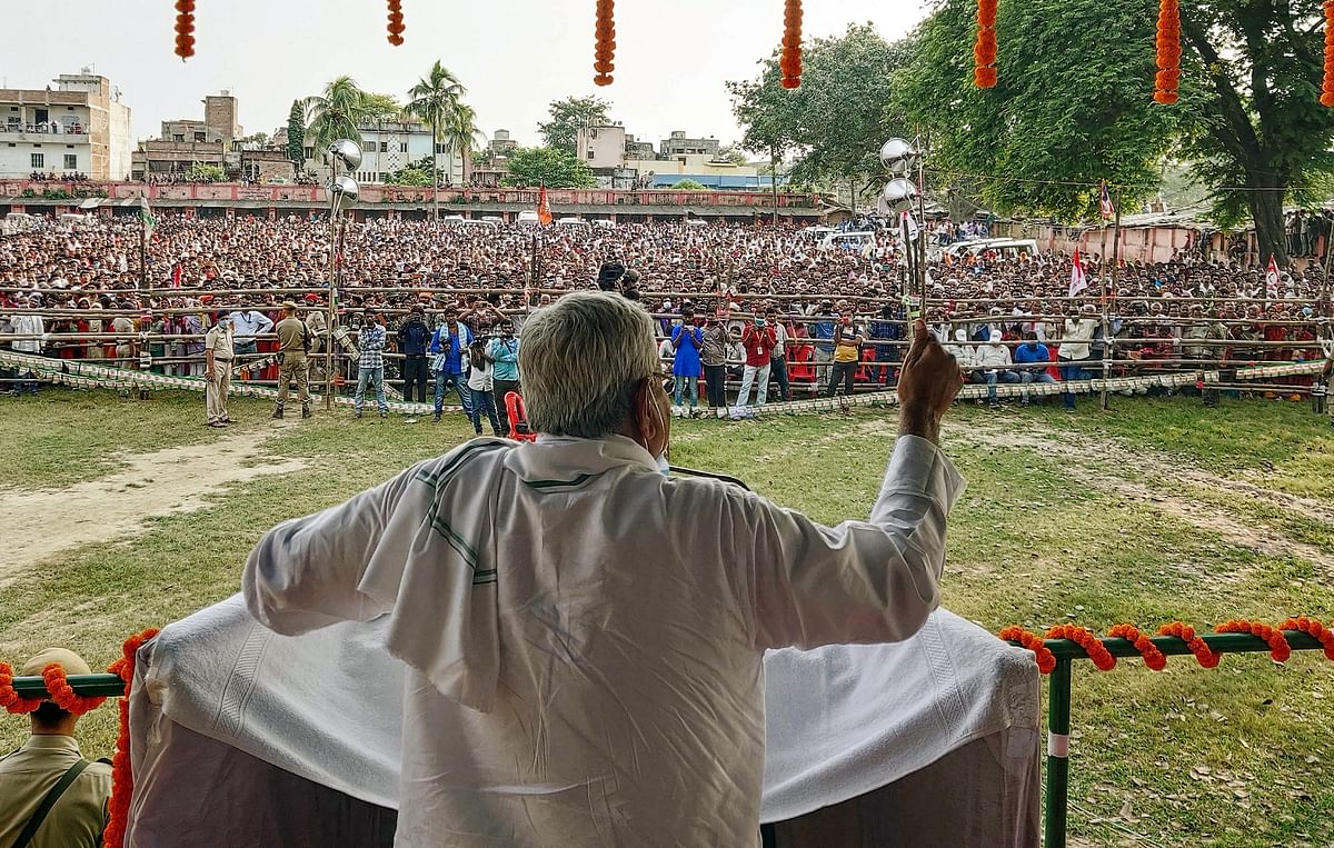 Bihar CM Nitish Kumar addresses supporters during an election meeting ahead of Assembly elections, in Hasanpur on Thursday.