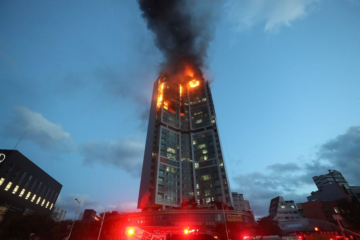 Fire engulfs 33-storeyed building in South Korea