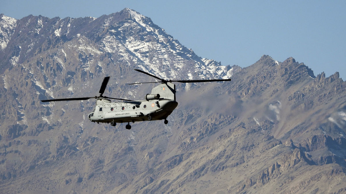 An IAF Chinook seen flying, in Leh