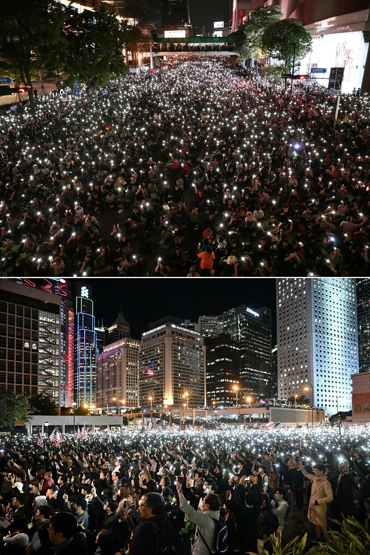 This combination of file pictures created on October 19, 2020 shows (top) pro-democracy protesters holding up flashlights on their phones during a demonstration in Bangkok on October 15, 2020, and (bottom) people holding up flashlights on their phones during a rally thanking US President Donald Trump for signing legislation requiring an annual review of freedoms in Hong Kong on November 28, 2019. - Hong Kong and Thailand have both seen their streets filled with youthful protesters daring to take on an entrenched and powerful political elite -- and uncork once taboo subjects in their push for greater freedoms.
