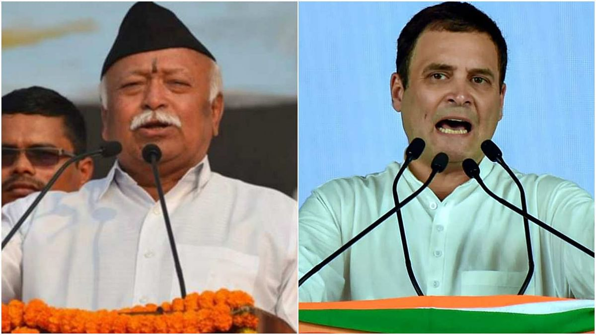 RSS chief Mohan Bhagwat (L) and Congress leader Rahul Gandhi (R)