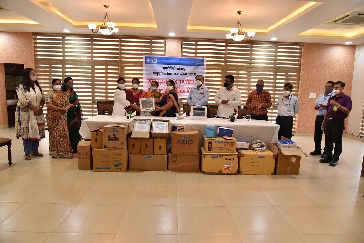 NTPC Solapur distributes medical material to Covid Care Centre, South Solapur