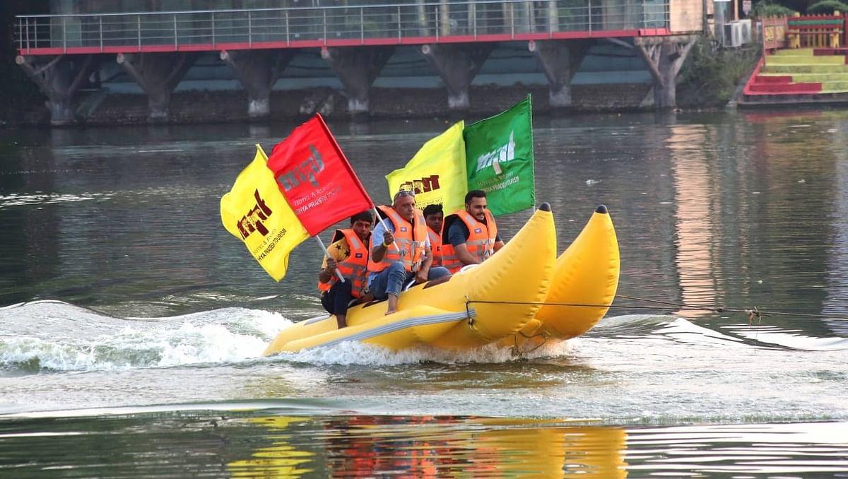 Bhopal: Visitors enjoy banana boat ride at Sair Sapata