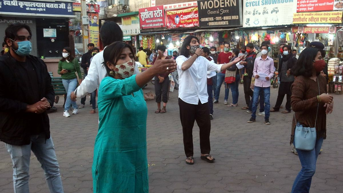 Flash mob protest against the government Bill on Love Jihad in Bhopal on Wednesday.