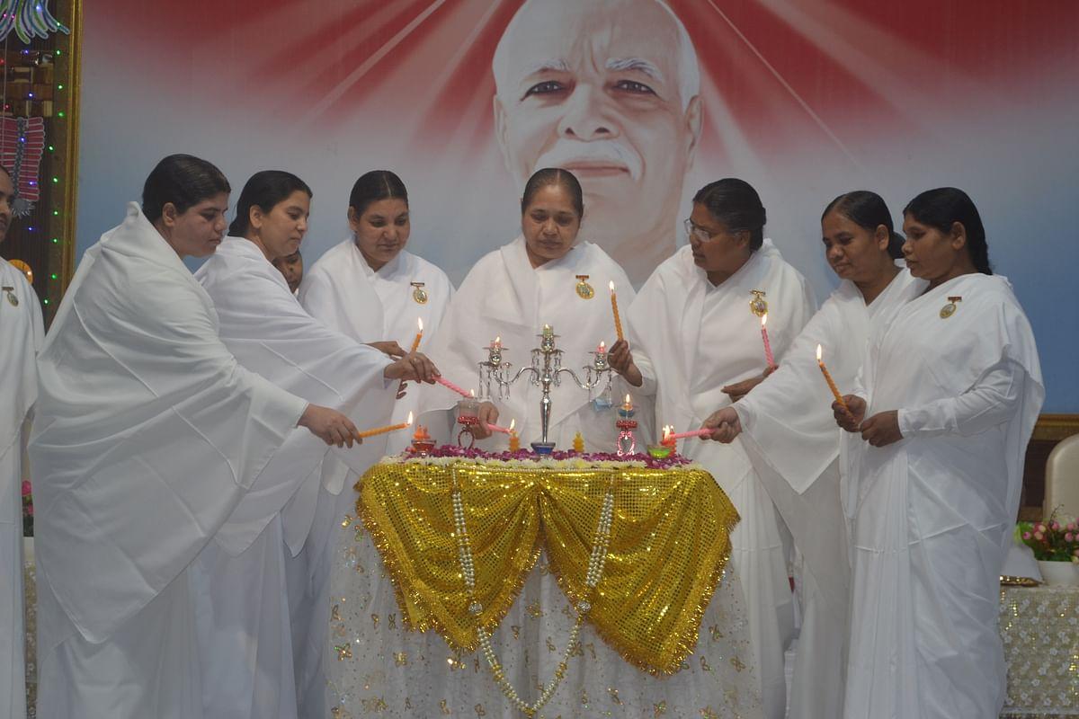 Bramhakumaris lighting the lamp