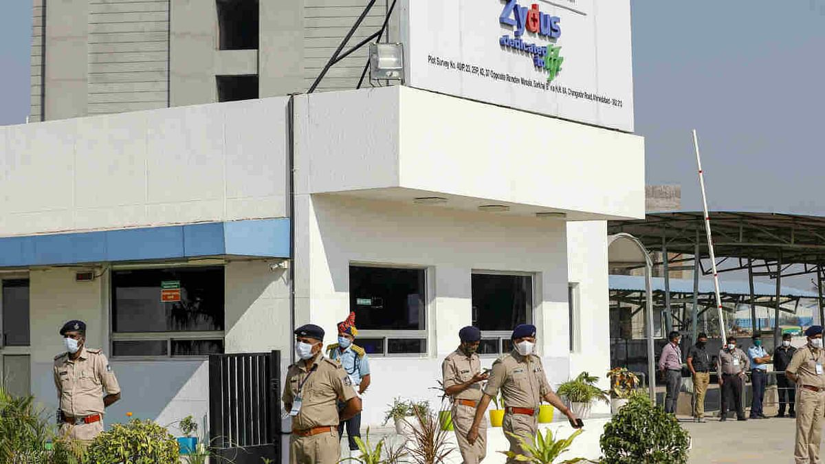 Security deployed at Zydus Biotech park during Prime Minister Narendra Modis visit to review the development of COVID-19 vaccine ZyCOV-D, at Changodar in Ahmedabad, Saturday, Nov. 28, 2020