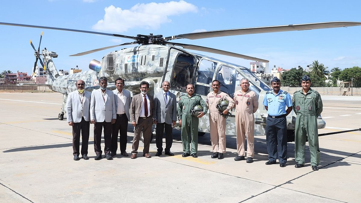 Air Chief reviews HAL designed and developed Light Advanced Helicopter Programme, takes a sortie