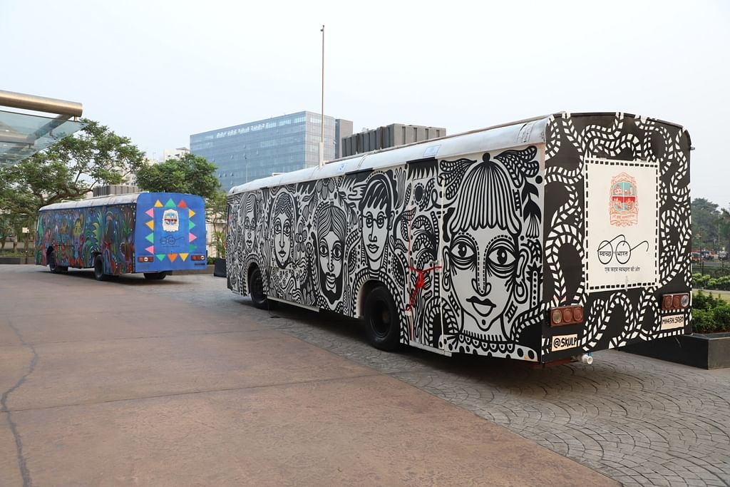 Navi Mumbai: NMMC converts two  defunct buses into artistic mobile toilets for public use