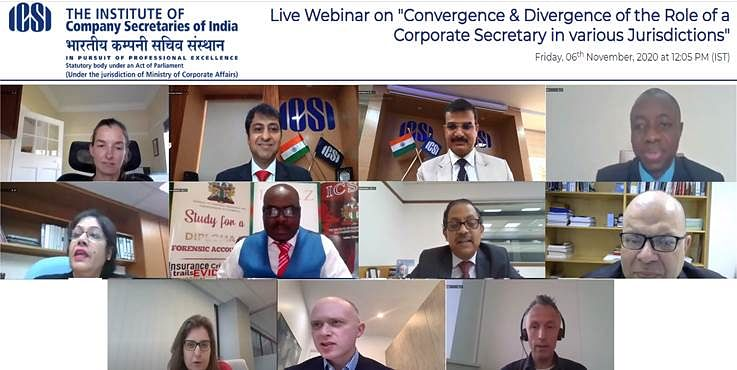 Institute of Company Secretaries of India & Corporate Secretaries International Association jointly organise webinar on Convergence & Divergence of the role of a Company Secretary in various jurisdictions