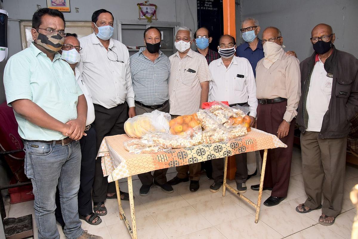 NGO members donating immunity boosting kits