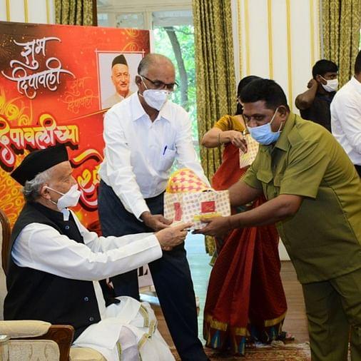 Maharashtra Governor Koshyari gifts bamboo lamps made by Palghar tribal women to Raj Bhavan staff