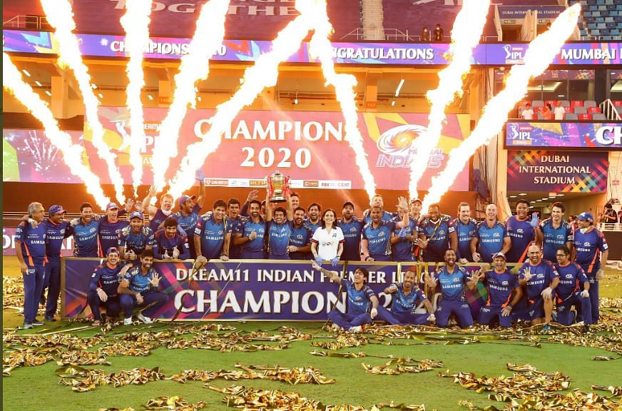 Champions Mumbai Indians with the Trophy