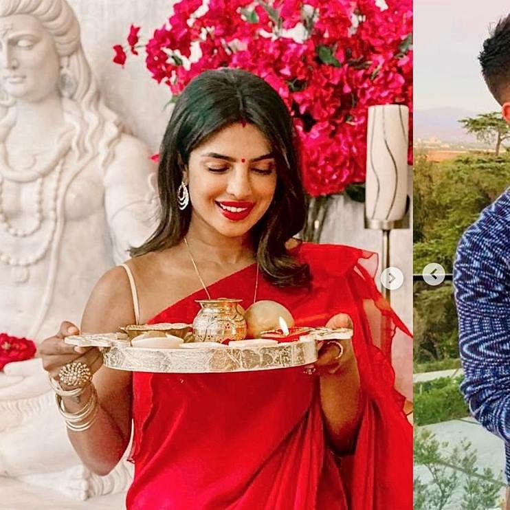 Clad in red saree and sindoor, Priyanka Chopra celebrates Karva Chauth with hubby Nick Jonas
