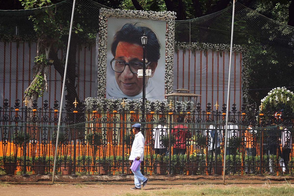 Shiv Sena Party workers paying tribute to the Shiv Sena founder Balasaheb Thackeray on his death anniversary at Shivaji Park in Mumbai on Tuesday.