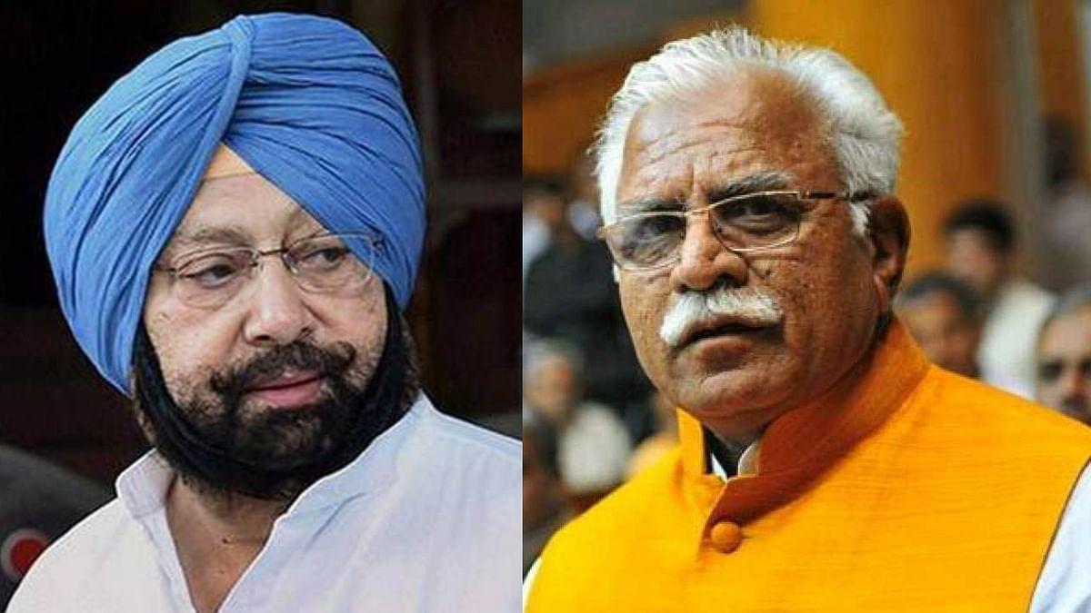 Punjab CM Captain Amarinder Singh (L) and Haryana CM Manohar Lal Khattar