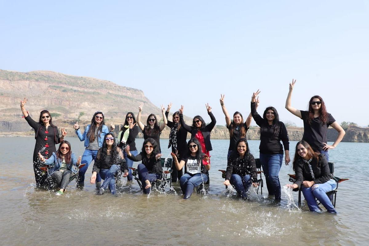 Group of adventurous women during their trip to a water body ahead of Gram Sanawadiya