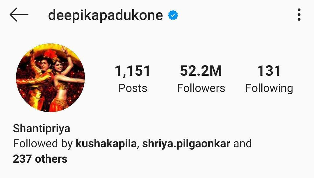 Deepika Padukone changes her Instagram, Twitter names to 'Shantipriya' as 'Om Shanti Om' turns 13