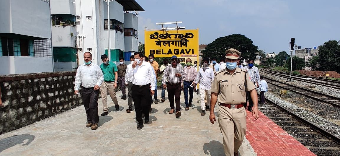 SWR officials inspect the progress of works at Belagavi station building and yard development