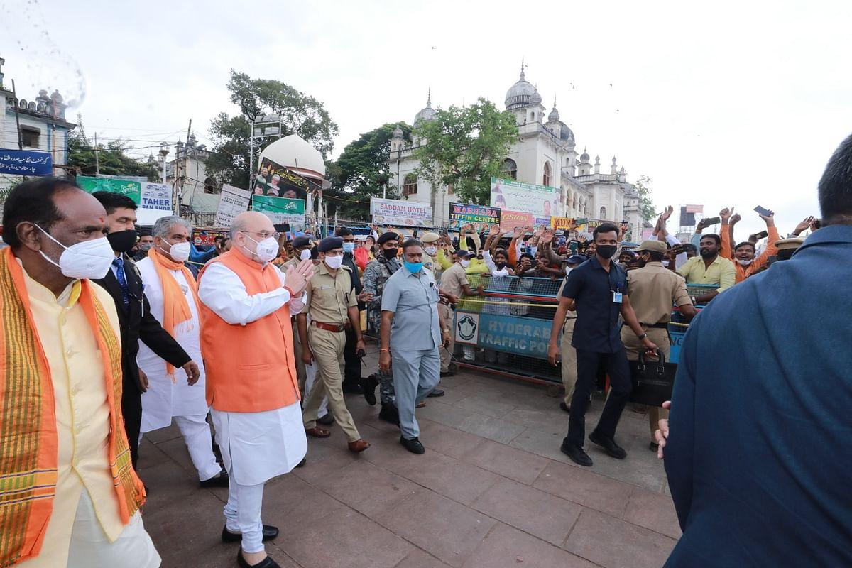 Union Home Minister Amit Shah on his way to visit Bhagyalakshmi Ammavari Temple, in Hyderabad.