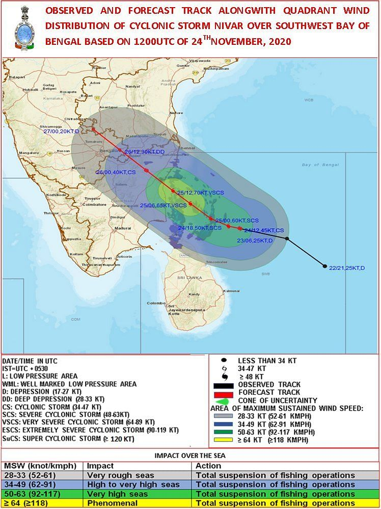 Cyclone Nivar to make landfall today: Here are Satellite images and track of the 'cyclonic storm'