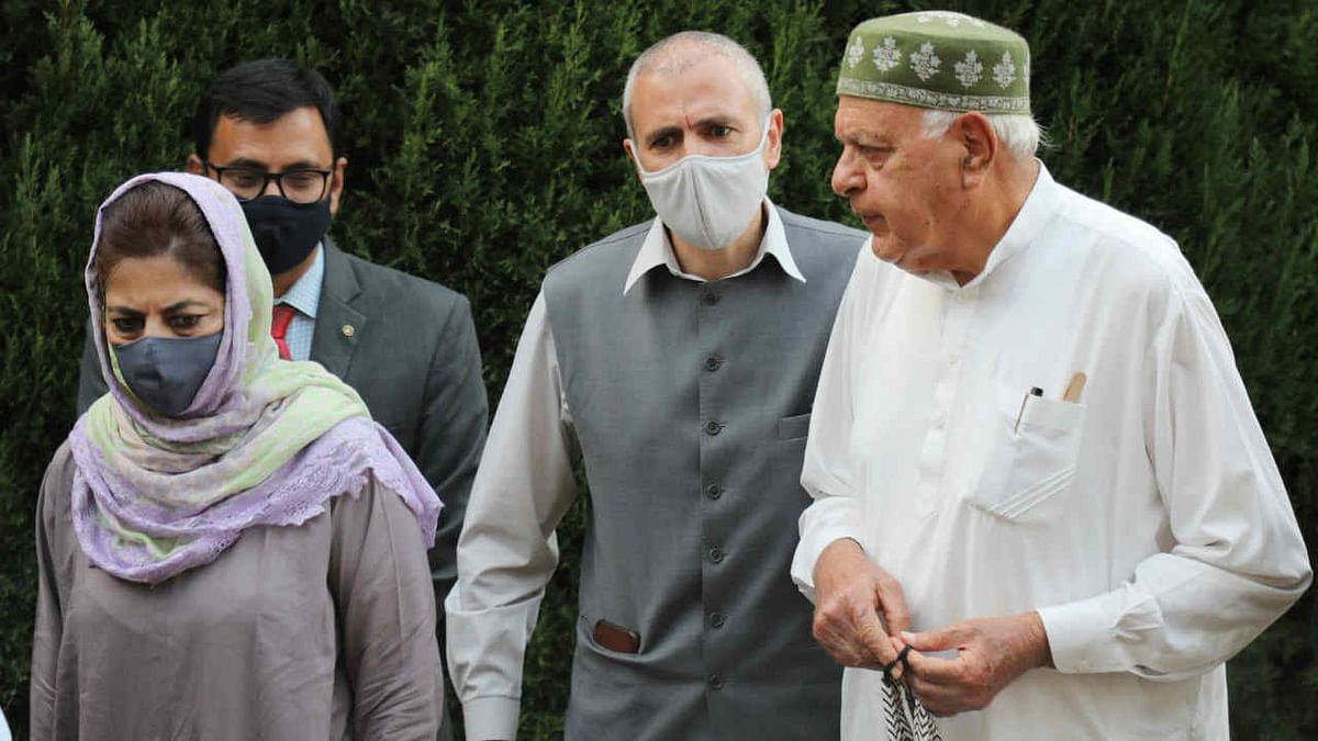 Members of Peoples Alliance for Gupkar Declaration Farooq Abdullah, Mehbooba Mufti, Omar Abdullah and others during a press conference after their meeting, at Bathindi in Jammu, Saturday, Nov. 7, 2020