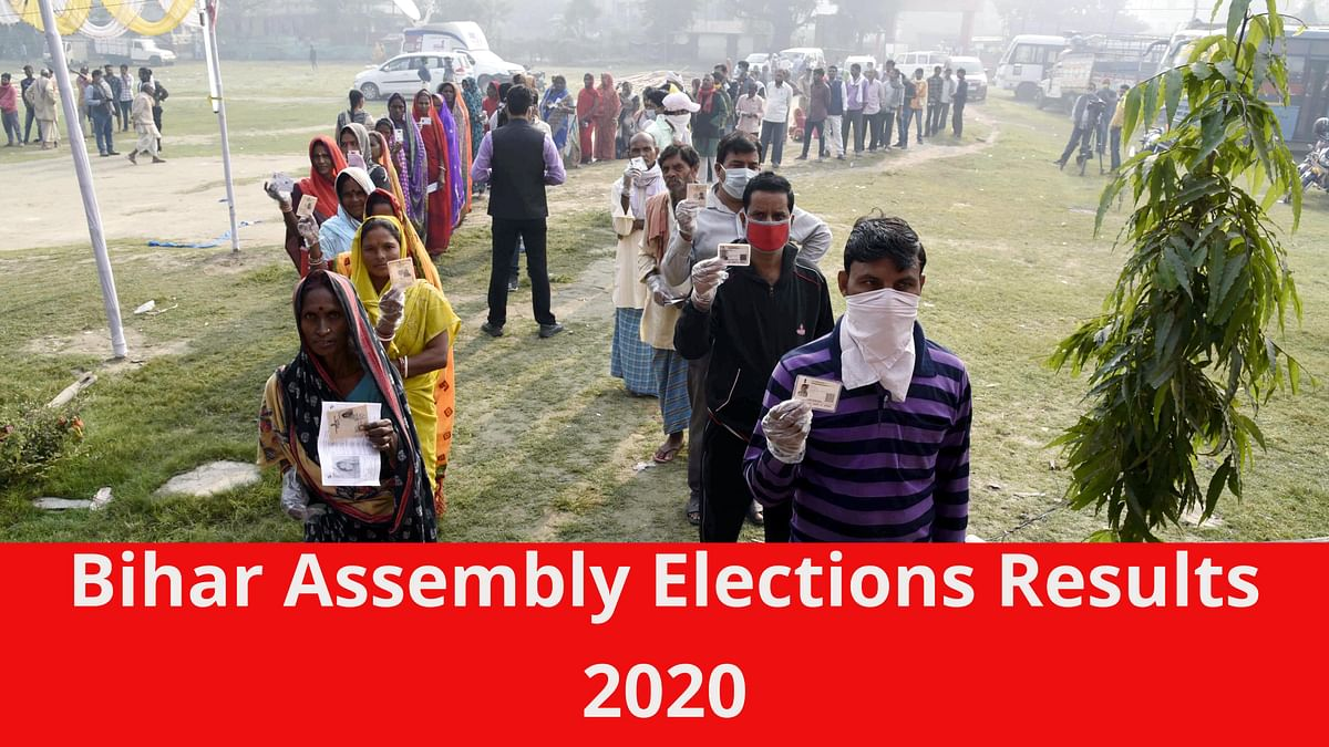 Bihar, Nov 07 (ANI): Voters stand in queues to cast their votes for the third phase of Bihar Assembly Election, at Mahua in Vaishali.