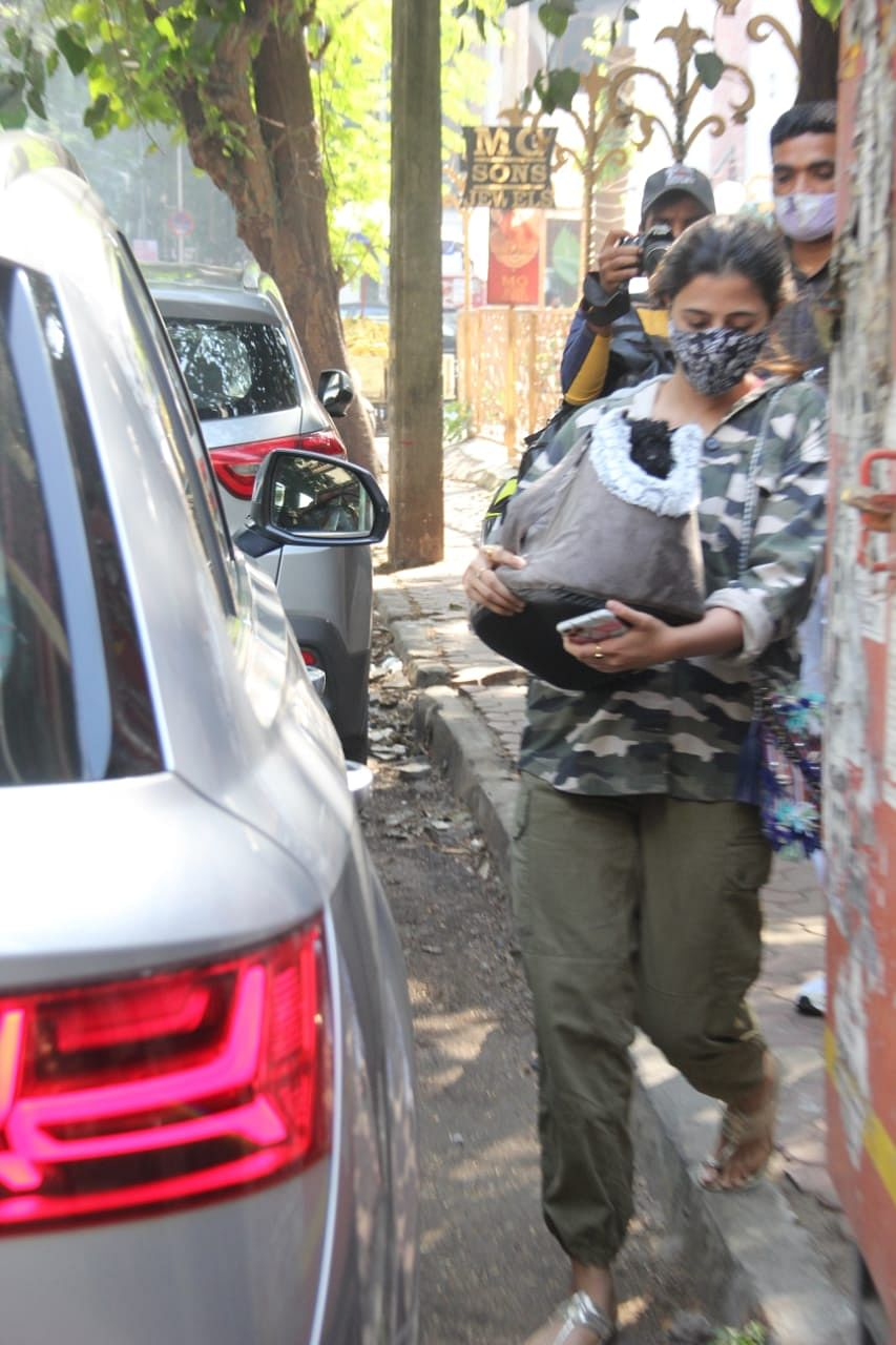 Nupur Sanon with her dog at a pet clinic in Khar