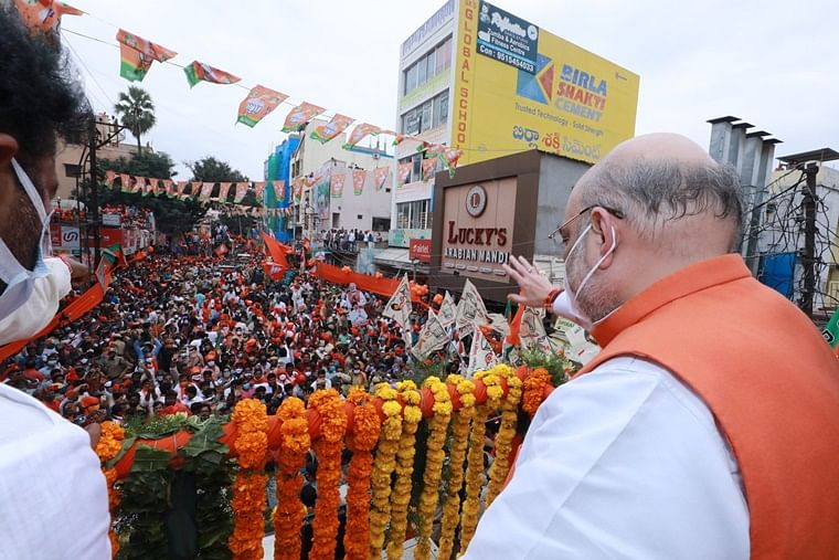 Union Home Minister Amit Shah during his roadshow in Hyderabad.